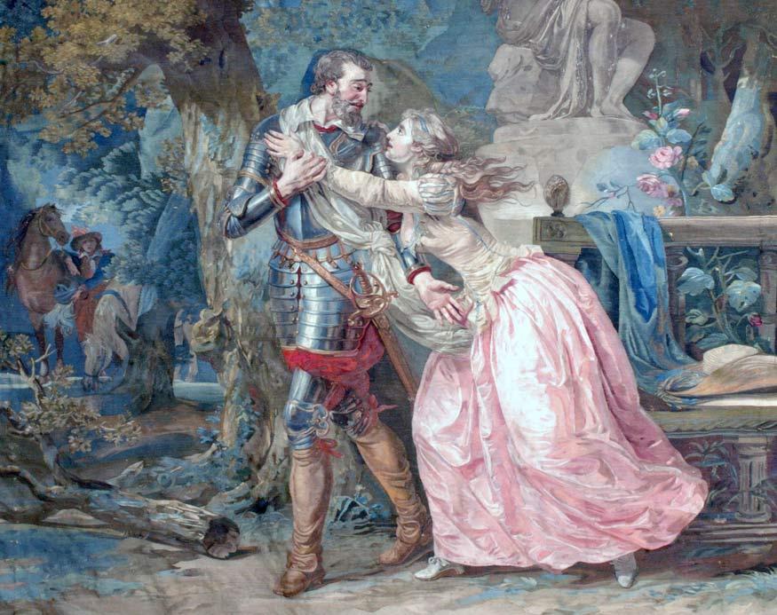 """""""Les adieux d'Henri IV à Gabrielle d'Estrée"""", tapisserie appartenant à la tenture de l'Histoire d'Henri IV, tissée au début du XIXe siècle à la Manufacture des Gobelins d'après un carton de François-André Vincent."""