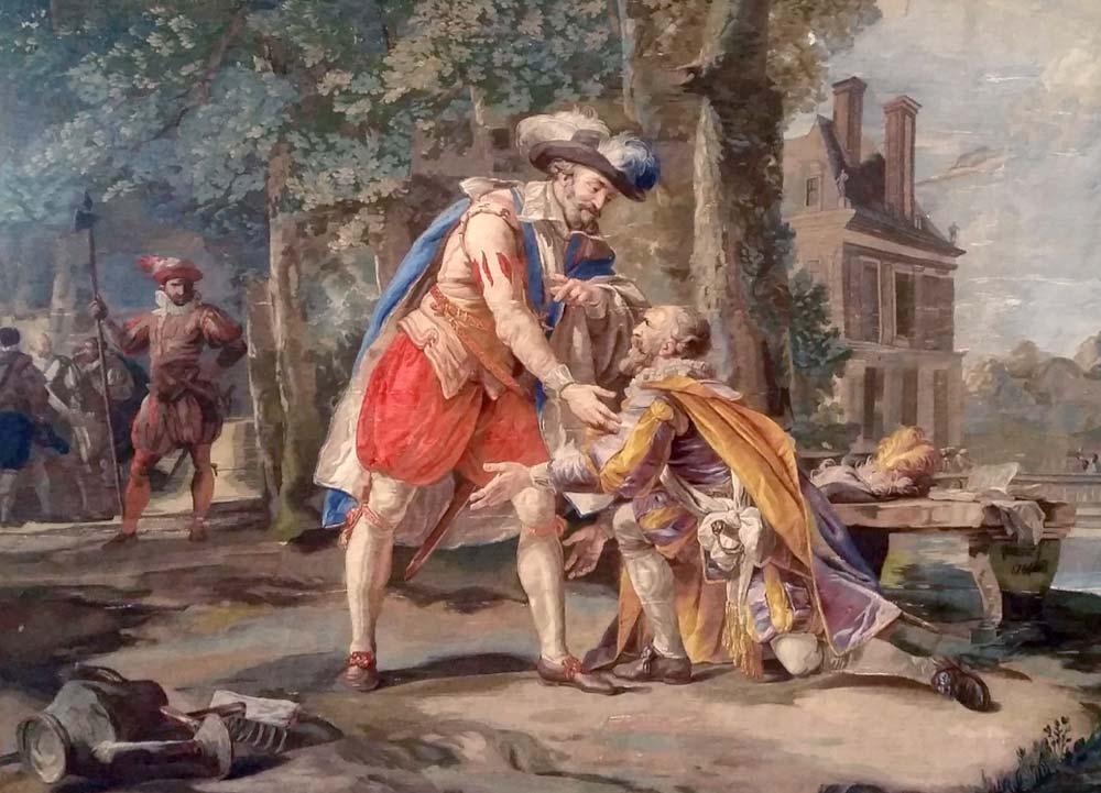 """""""Henri IV relevant Sully"""", Tapisserie (Manufacture des Gobelins, début XIXe, d'après François-André Vincent) appartenant à la tenture de l'Histoire d'Henri IV, Château de Pau."""